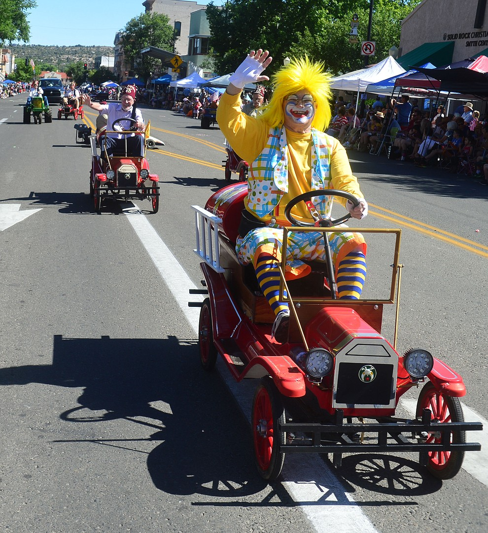 Shriners of Phoenix brought their mini cars for the Prescott Frontier Days Rodeo Parade through the streets of downtown Prescott Saturday July 6, 2019.  (Les Stukenberg/Courier)