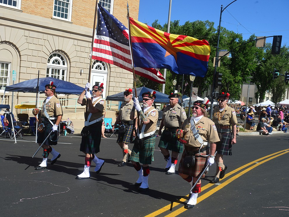 The Scottish American Military Society during the Prescott Frontier Days Rodeo Parade through the streets of downtown Prescott Saturday July 6, 2019.  (Les Stukenberg/Courier)