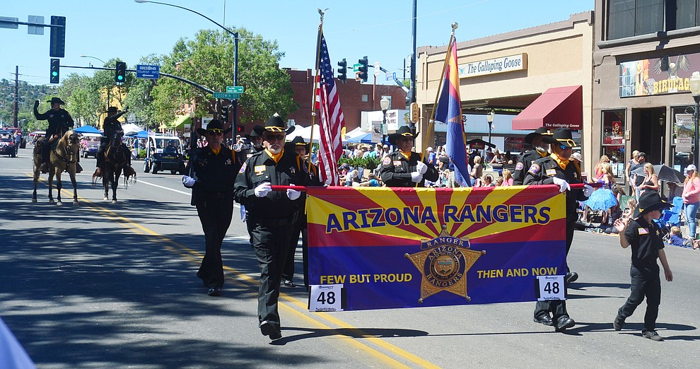 The Arizona Rangers during the Prescott Frontier Days Rodeo Parade through the streets of downtown Prescott Saturday July 6, 2019.  (Les Stukenberg/Courier)