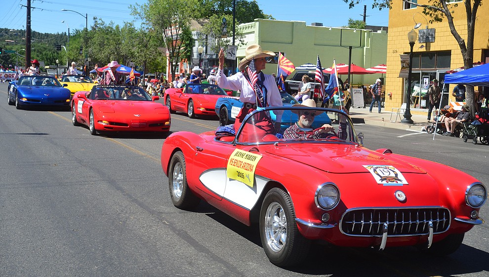 Numerous Ms Senior Arizona's rode in Corvettes during the Prescott Frontier Days Rodeo Parade through the streets of downtown Prescott Saturday July 6, 2019.  (Les Stukenberg/Courier)