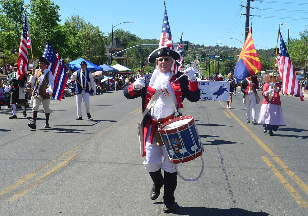 Sons of the American Revolution during the Prescott Frontier Days Rodeo Parade through the streets of downtown Prescott Saturday July 6, 2019.  (Les Stukenberg/Courier)