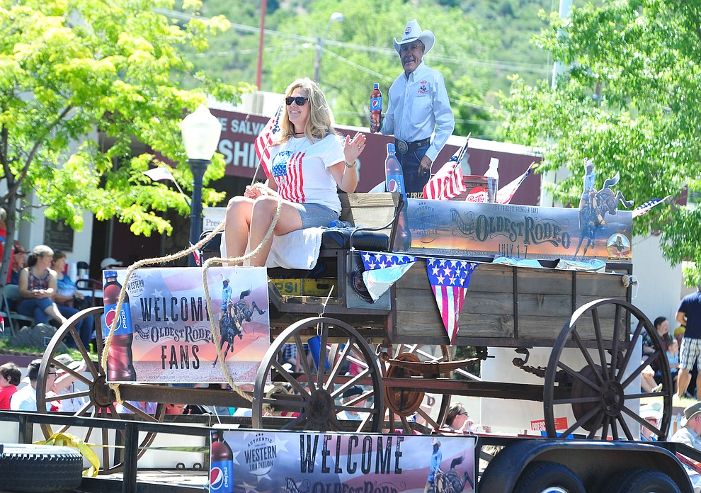 Pepsi brought an old wagon and free cans of drinks to the Prescott Frontier Days Rodeo Parade through the streets of downtown Prescott Saturday July 6, 2019.  (Les Stukenberg/Courier)