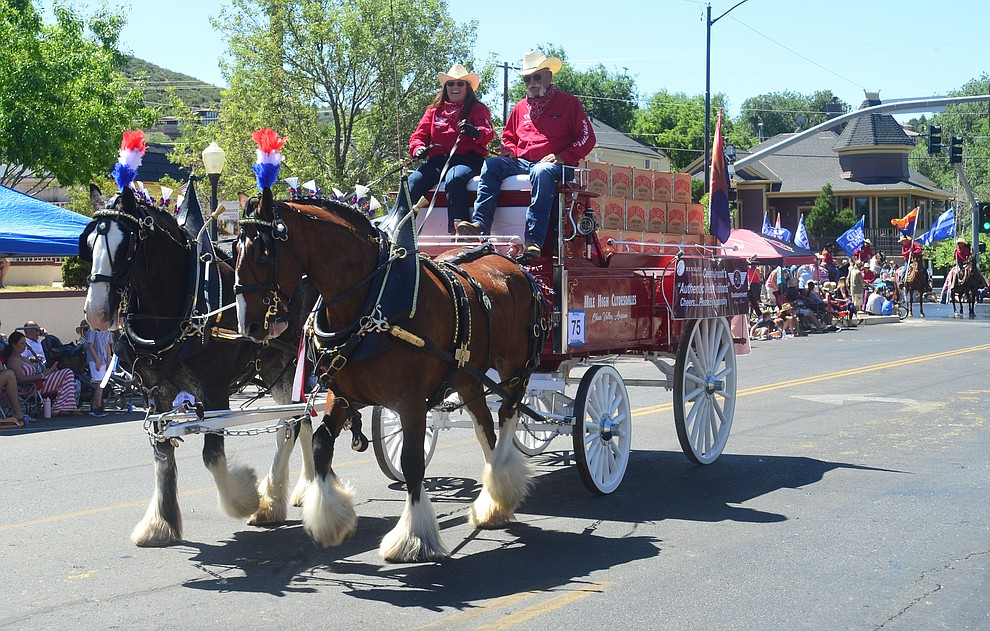 Budweiser brought a small team of Clydesdales to the Prescott Frontier Days Rodeo Parade through the streets of downtown Prescott Saturday July 6, 2019.  (Les Stukenberg/Courier)