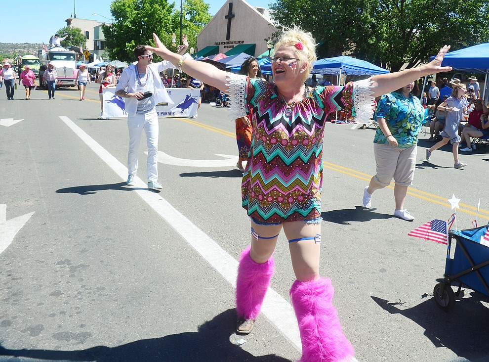 One Stage Family Theatre presents Mama Mia during the Prescott Frontier Days Rodeo Parade through the streets of downtown Prescott Saturday July 6, 2019.  (Les Stukenberg/Courier)