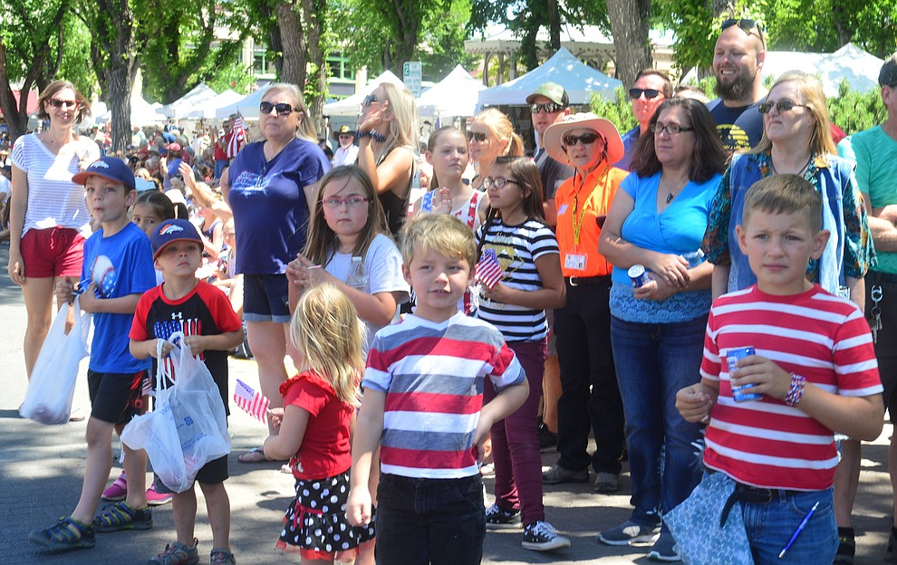 Large crowds lined the streets during the Prescott Frontier Days Rodeo Parade through the streets of downtown Prescott Saturday July 6, 2019.  (Les Stukenberg/Courier)