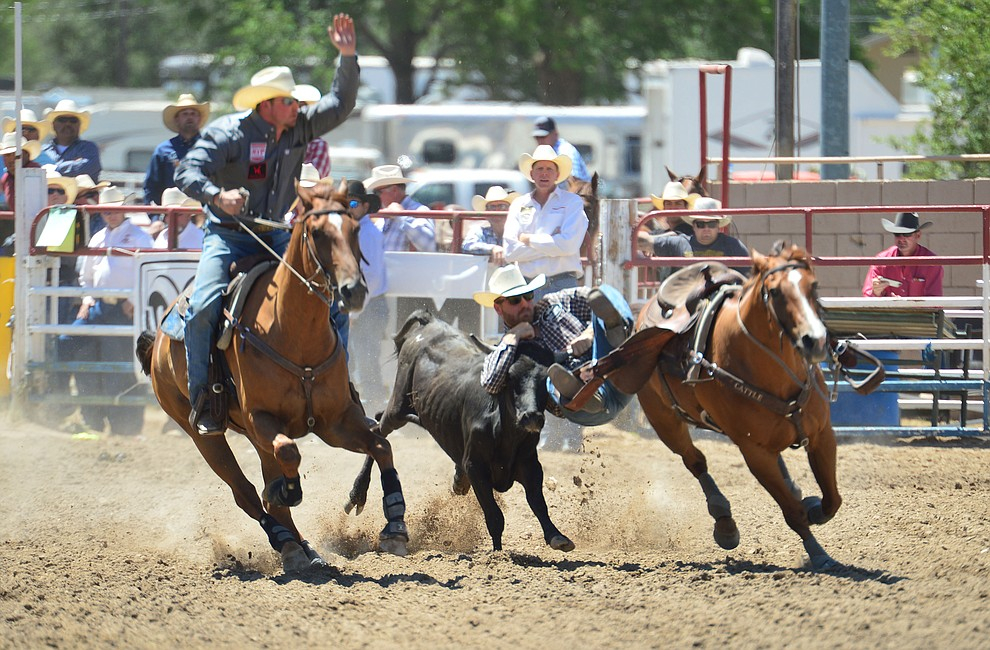 Levi Rudd in the steer wrestling during the 6th performance of the Prescott Frontier Days Rodeo Saturday afternoon July 6, 2019.  (Les Stukenberg/Courier)