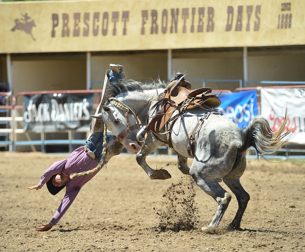Ty Smith gets dashboarded by Catclaw in the Cowpunchers Bronc Riding during the 6th performance of the Prescott Frontier Days Rodeo Saturday afternoon July 6, 2019.  (Les Stukenberg/Courier)