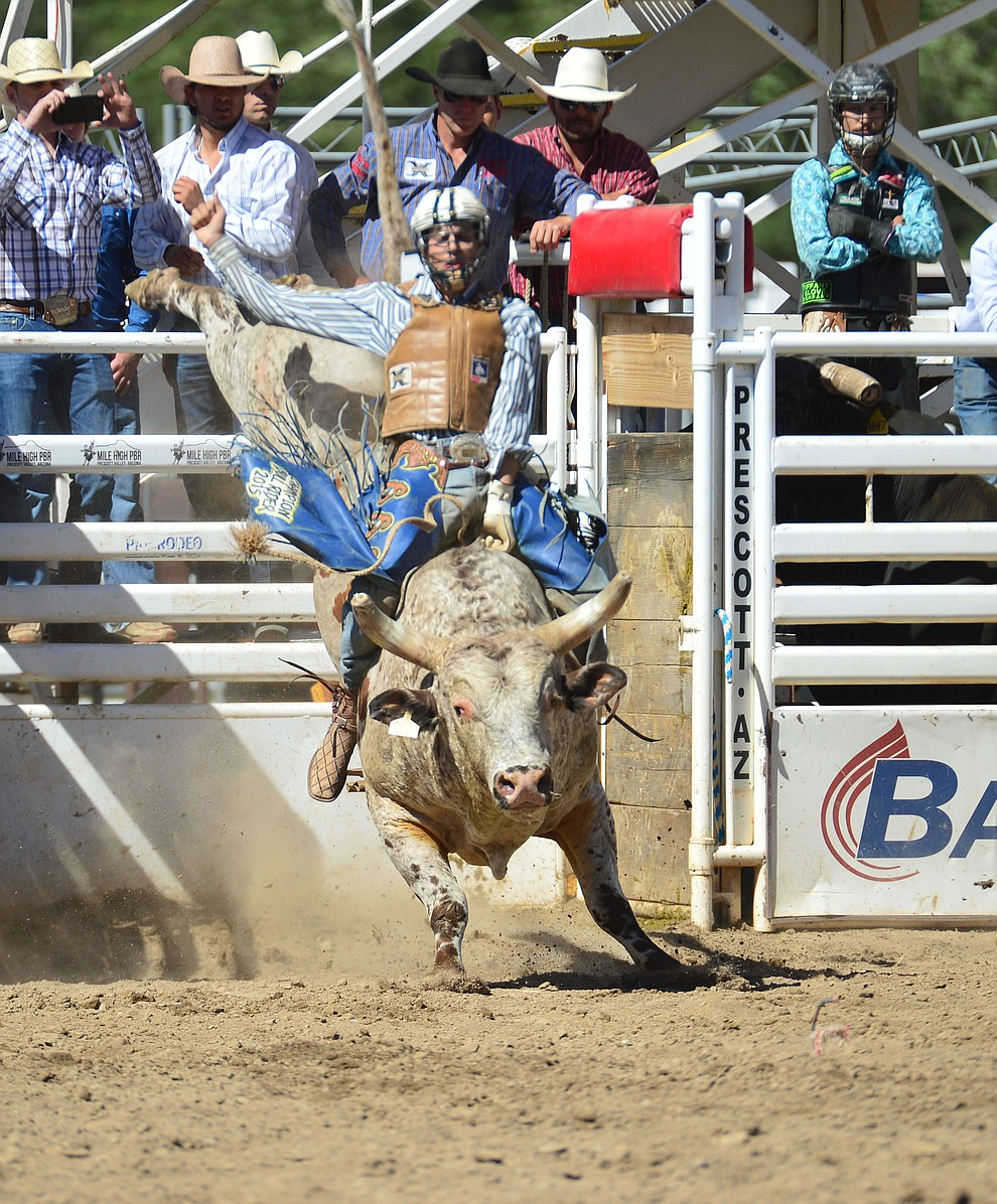Cody Strite on Yikes in the bull riding during the 6th performance of the Prescott Frontier Days Rodeo Saturday afternoon July 6, 2019.  (Les Stukenberg/Courier)