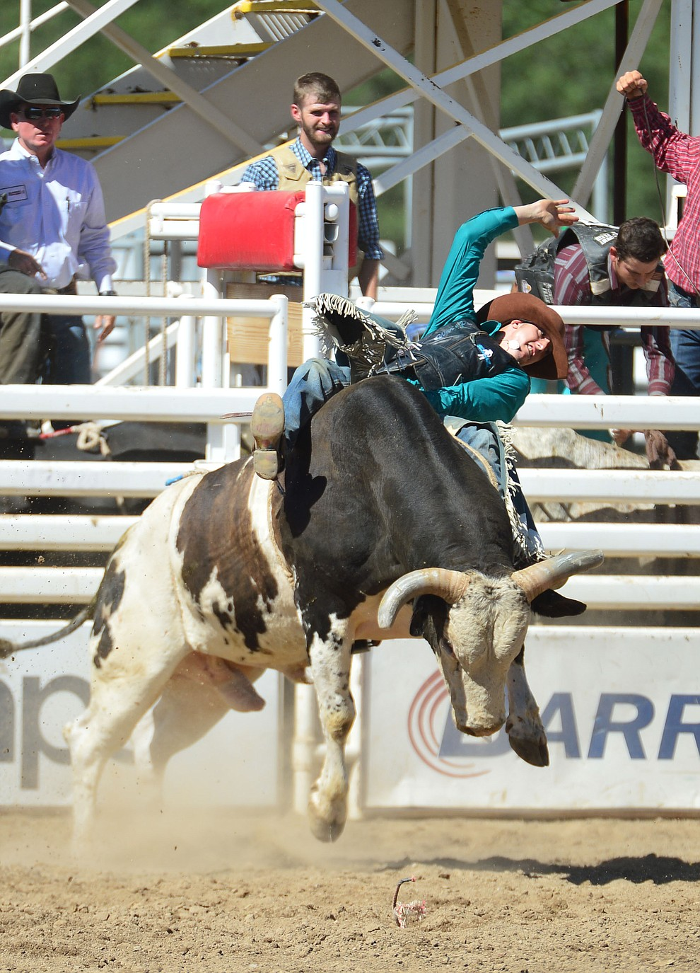 Marty Custer in the bull riding during the 6th performance of the Prescott Frontier Days Rodeo Saturday afternoon July 6, 2019.  (Les Stukenberg/Courier)