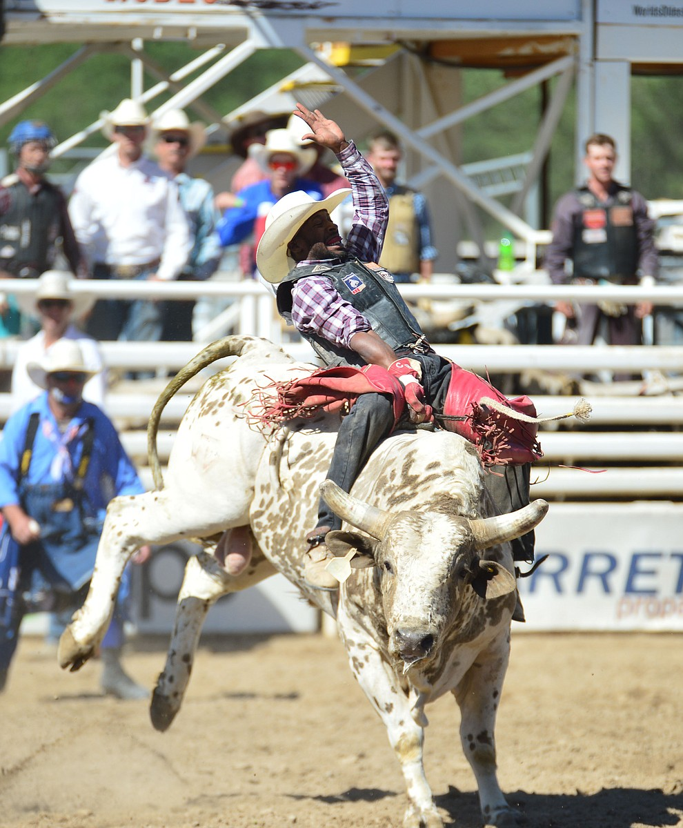 Christopher Byrd on Happy Hooker in the bull riding during the 6th performance of the Prescott Frontier Days Rodeo Saturday afternoon July 6, 2019.  (Les Stukenberg/Courier)