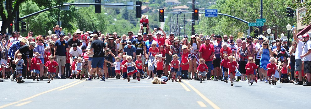 Three and under racers during the 37th annual Whiskey Row Boot Race on Montezuma Street in Prescott Saturday July 6, 2019.  (Les Stukenberg/Courier)
