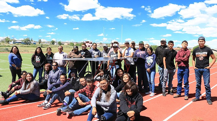 Students from Many Farms and Wingate High Schools participate in the solar go-kart exhibit at the conclusion of the 2019 STEM and Skills summer program. (Navajo Technical University)