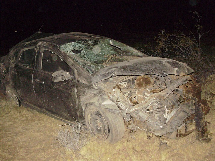 A Dolan Springs resident died in this crash Sunday evening. It was determined he was not wearing a seatbelt and was ejected from the vehicle. (MCSO photo)