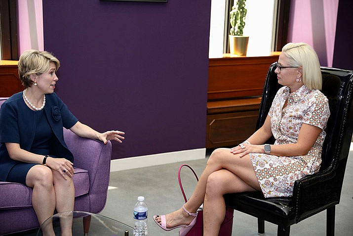 """Arizona senior Senator Kyrsten Sinema, right, met with President and Chairman of the Export-Import Bank, Kimberly Reed on June 28, 2019. Sinema has cosponsored the """"STOP Surprise Medical Bills Act"""" to help curb high prices for prescriptions and limit some copays. (Office of U.S. Sen. Kyrsten Sinema photo)"""