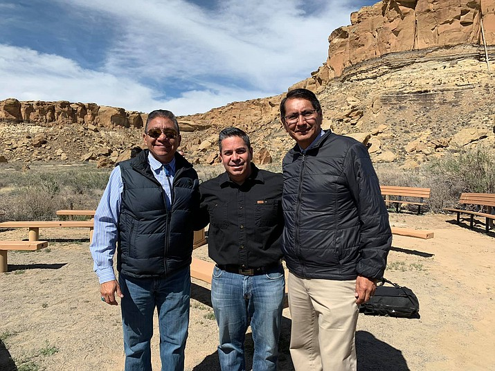 Navajo Nation President Jonathan Nez, Vice President Myron Lizer and U.S. House Assistant Speaker Ben Ray Luján (D-N.M.) at Chaco. (Office of the President and Vice President)