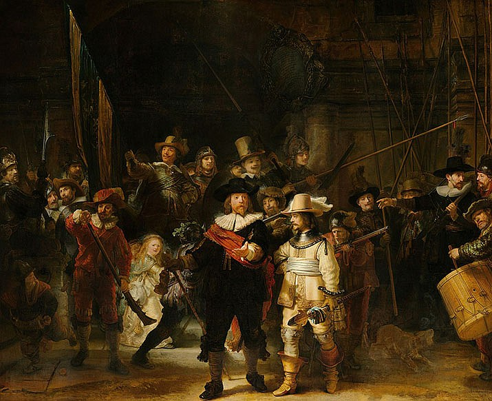 "Rembrandt's ""Night Watch"" is being studied by  researchers and restorers at Amsterdam's Rijksmuseum as part of a months-long project using high-tech imaging technology to throw new light on the iconic painting. (Public Domain)"