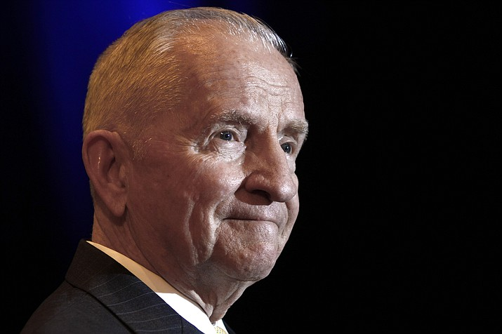 In this April 20, 2019, file photo, Ross Perot listens to a reporter's question during a news conference before accepting the Command and General Staff College Foundation's 2010 Distinguished Leadership Award in Kansas City, Mo. Perot, the Texas billionaire who twice ran for president, has died, a family spokesperson said Tuesday, July 9, 2019. He was 89. (Ed Zurga/AP, File)