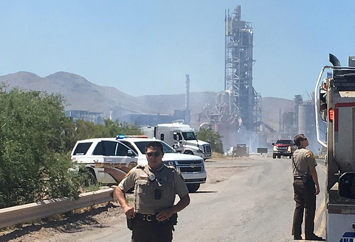 Firefighters are currently on the scene fighting what has been reported as a wildfire along railroad tracks at the Clarkdale Salt River Materials Group-Phoenix Cement plant. VVN/Vyto Starinskas