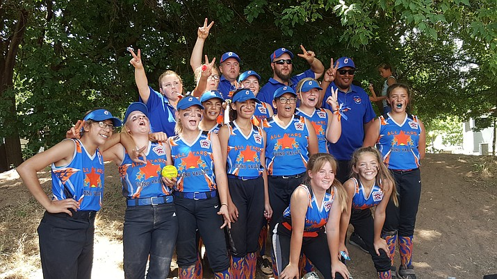 The Chino Valley Little League Softball Major's All-Stars take a team photo during their run at the Arizona State Tournament over the weekend. The team went 2-2 in the tournament and was eliminated by Gilbert on Monday, June 8, in Cottonwood. (John Richards/Courtesy)