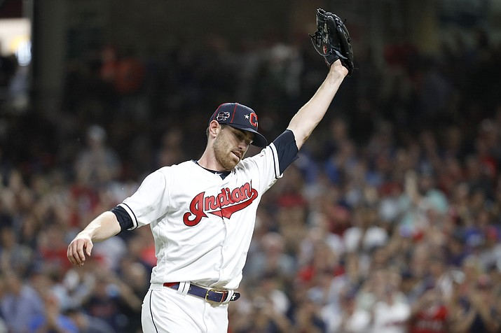 American League pitcher Shane Bieber, of the Cleveland Indians, reacts after striking out National League's Ronald Acuna Jr., of the Atlanta Braves, to end the top of the fifth inning of the MLB All-Star Game, Tuesday, July 9, 2019, in Cleveland. (John Minchillo/AP)
