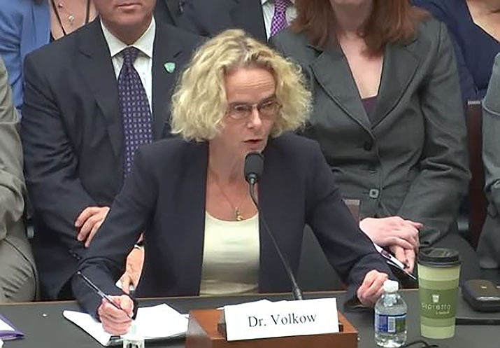 Dr. Nora Volkow, director of the National Institute on Drug Abuse at the National Institutes of Health testifies in front of the House Committee on Energy and Commerce. Volkow is studying how anti-addiction medicines work inside the brains of people undergoing treatment for opioid abuse. (NIDA photo)