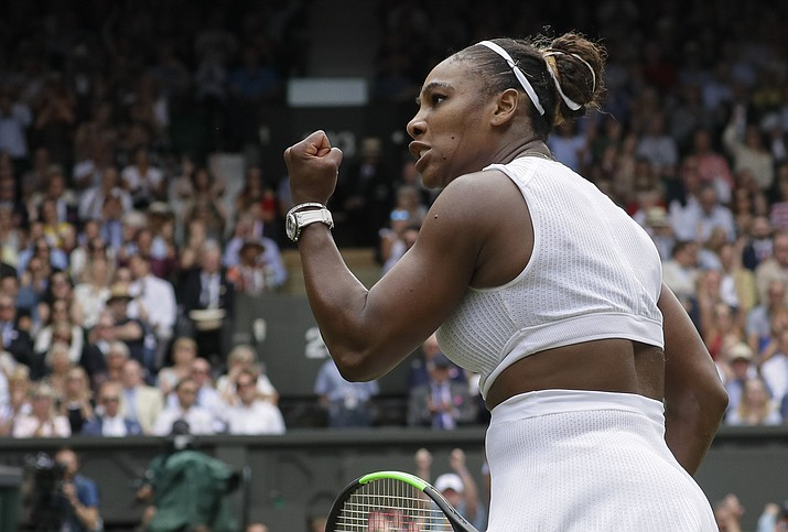 United States' Serena Williams celebrates defeating United States' Alison Riske during a quarterfinal match on Day 8 of the Wimbledon Tennis Championships in London, Tuesday, July 9, 2019. (Kirsty Wigglesworth/AP)