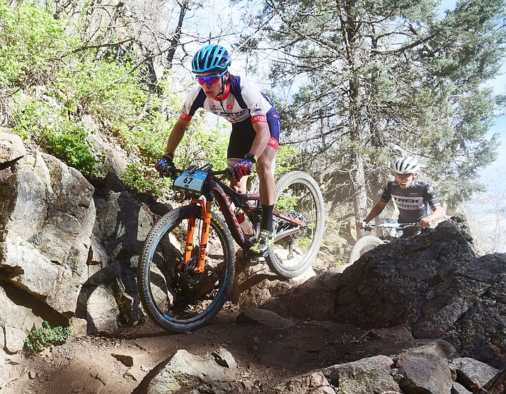 Jacob Morales during the Whiskey Off Road Pro 50-mile cross country mountain bike race in Prescott Sunday, April 28.  The Prescott Mountain Bike Alliance will use the  2019 Hail the Trial funds to construct new trails in the area that could potentially be used for such events. (Les Stukenberg/Courier)