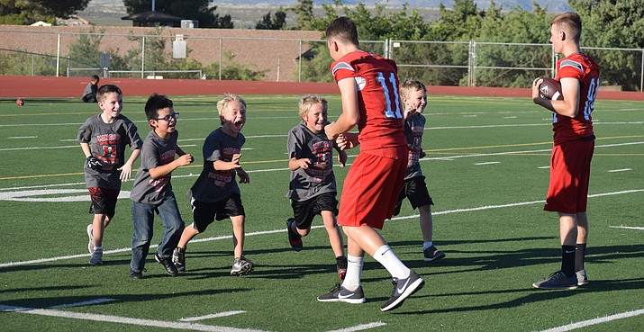 Campers work on their defensive skills at the 2019 Mingus Youth Football Camp on Wednesday at Mingus Union. VVN/James Kelley
