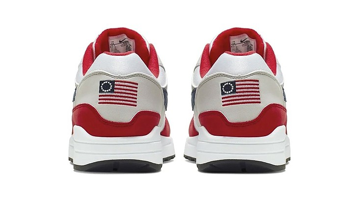 This undated product image obtained by the Associated Press shows Nike Air Max 1 Quick Strike Fourth of July shoes that have a U.S. flag with 13 white stars in a circle on it, known as the Betsy Ross flag, on them. Nike is pulling the flag-themed tennis shoe after former NFL quarterback Colin Kaepernick complained to the shoemaker, according to the Wall Street Journal. (Nike Photo)