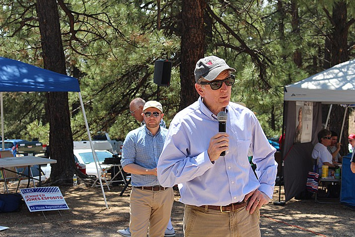 U.S. Rep. Paul Gosar speaks during the Mohave County Republican's picnic in the Hualapai Mountains in this July 2018 photo. (Photo by Vanessa Espinoza/Daily Miner)