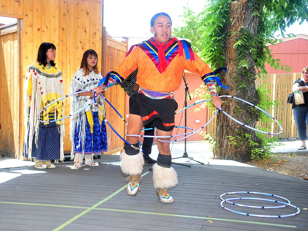 Hoop dancers perform at the Prescott Indian Arts Market at the Sharlot Hall Museum Saturday July 13, 2019. For a short video of the event go to dCourier.com..The show continues Sunday. (Les Stukenberg/Courier)