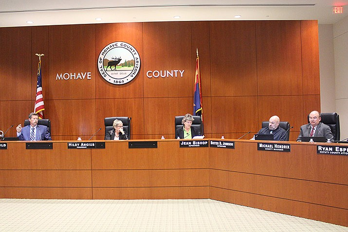Mohave County Supervisors – starting from the left: Ron Gould, Hildy Angius, Jean Bishop, and Buster Johnson. (Photo by Agata Popeda/Daily Miner)
