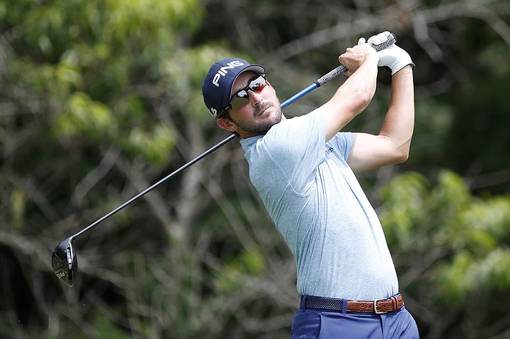 Andrew Landry hits off the second tee during the third round of the John Deere Classic, Saturday, July 13, 2019, at TPC Deere Run in Silvis, Ill. (Charlie Neibergall/AP)