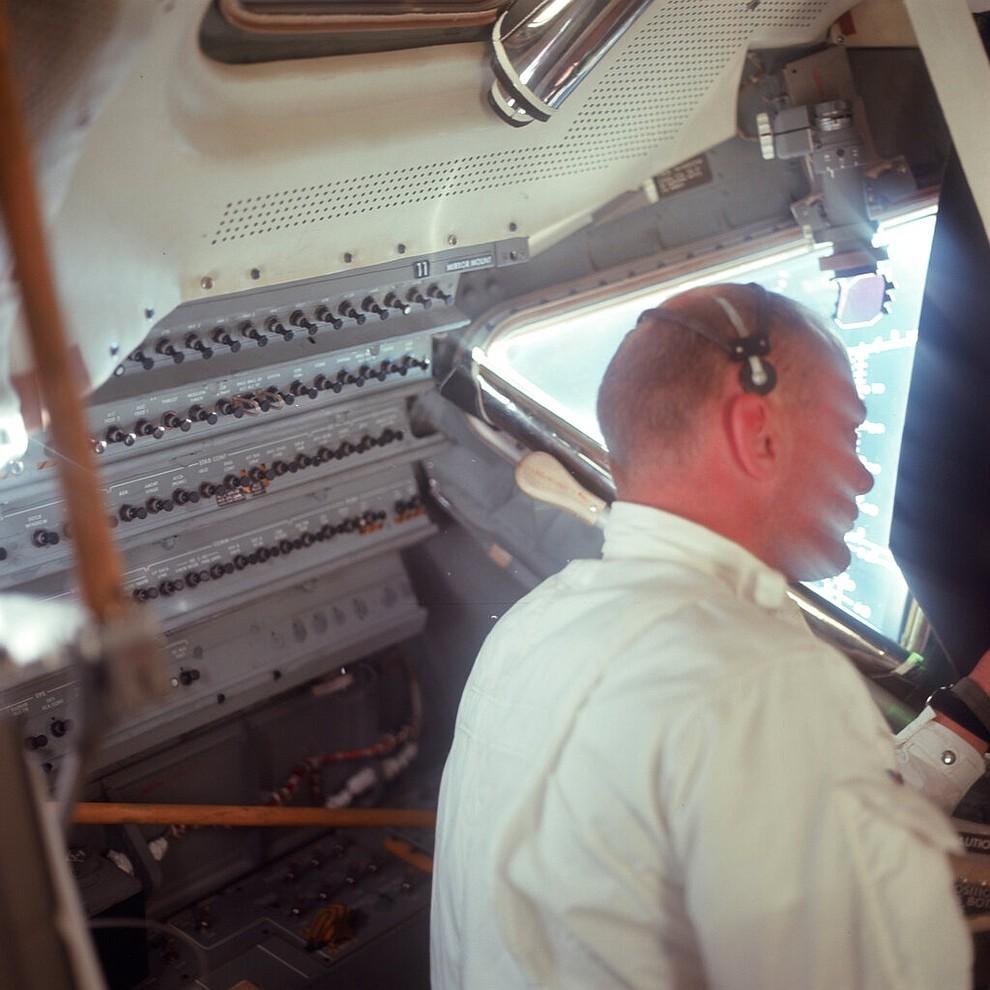 This July 20, 1969 photo made available by NASA shows Apollo 11 astronaut Buzz Aldrin in the Lunar Module cabin during the translunar coast. (Neil Armstrong/NASA via AP)