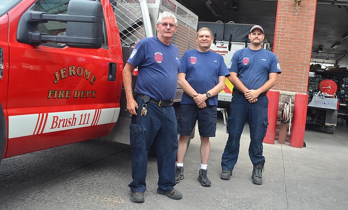 From left, Jerome Fire Chief Rusty Blair, Assistant Chief Tim Irwin, who is a volunteer, and full-time Jerome firefighter Ian Haney. VVN/Vyto Starinskas