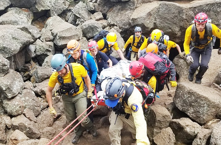 On July 13, Coconino County Sheriff's Office with assistance from Ponderosa Fire Department removed an injured woman from the Lava Caves, located off Forest Service Road 171 west of Flagstaff. (Photo/CCSO)