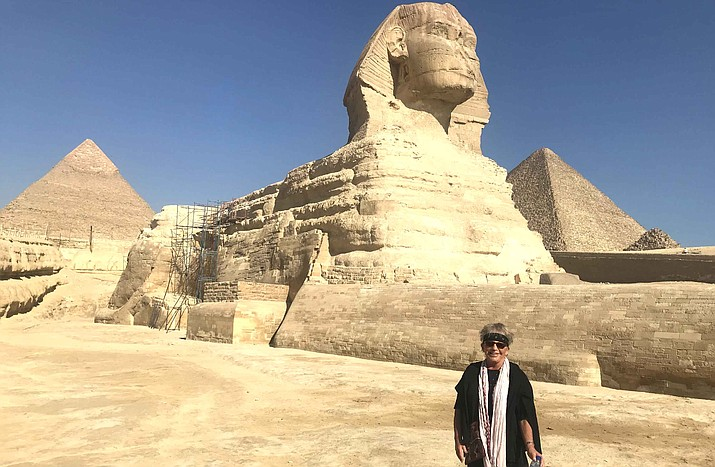 Andrea Smith at the Great Sphinx of Giza in Egypt.