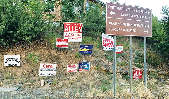 A key to a designation, according to the Camp Verde Council's July 17 agenda packet, within a proposed resolution, would forbid the placement of temporary political signs in one zone.