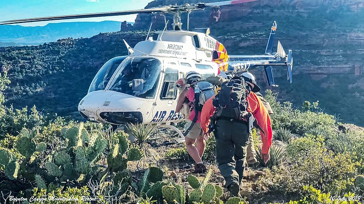 The Sheriff's Office reported rescue teams had to endure a hike that was strenuous, with several very steep-angled climbs up the face of the mountain to reach the woman. YCSO courtesy photo