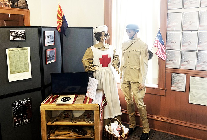 The Williams Visitor Center added a display of World war I uniforms and information as well as profiles of local servicemen killed in action. (Wendy Howell/photo)
