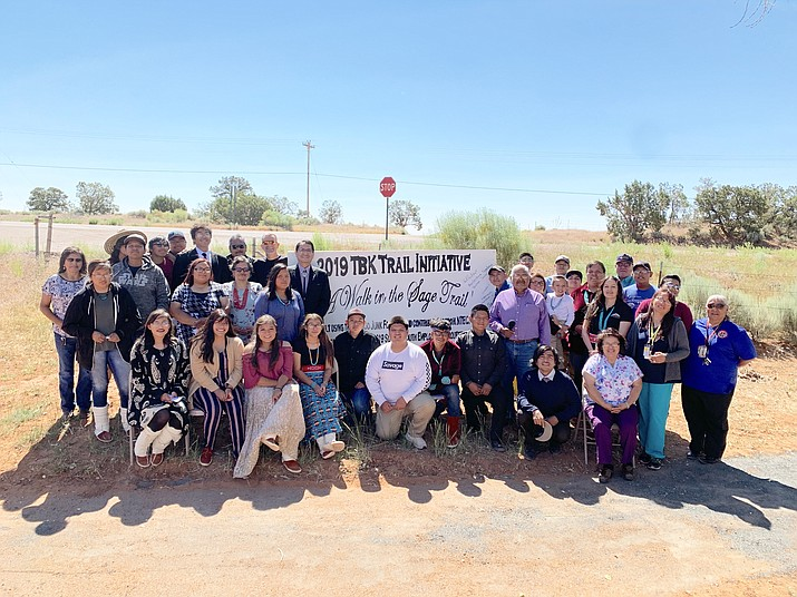 Twenty Navajo students, who are part of the chapter's summer youth employment program, completed the Ts'ah Bii Kin Trail Initiative using revenue collected through the Navajo Nation's two-percent tax on unhealthy foods and beverages.  (Photo/Office of the President and Vice President­)