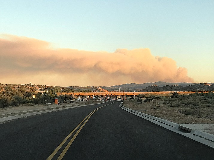 The Cellar Fire, located near Wagoner, has charred more than 1,000 acres as of Tuesday, July 16. The photo is taken from north Prescott near the Highway 89 and Highway 89A interchange. (Les Stukenberg/Courier)