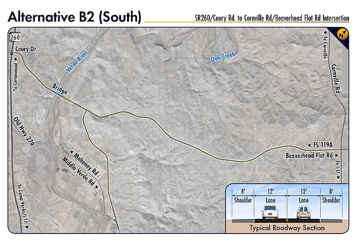 Once all the build alternatives were rated, Alternative B2 South was identified as the highest performing build alternative and is recommended to be fully evaluated in an environmental assessment. Map courtesy of Yavapai County