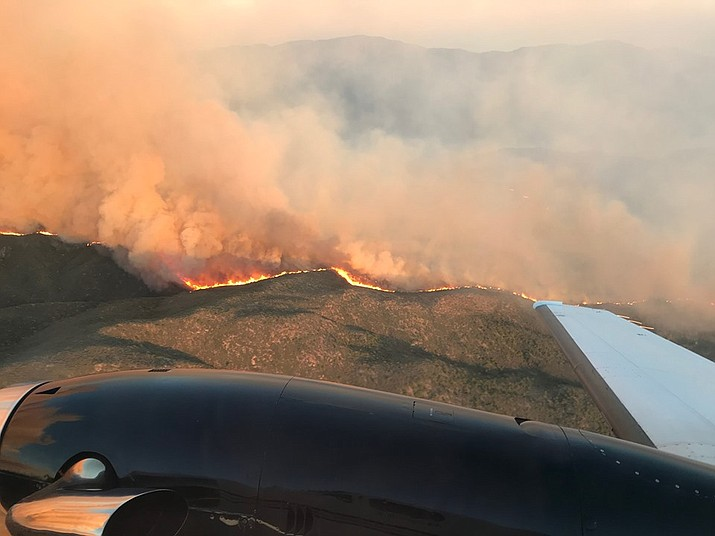 An aerial view of the Cellar Fire, which is burning into ponderosa pine west of Senator Highway as of Wednesday, July 17. (PNF/Courtesy)