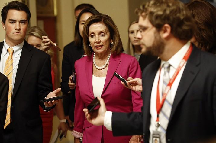 House Speaker Nancy Pelosi, D-Calif., walks to the House Chamber, Tuesday, July 16, 2019, on Capitol Hill in Washington. (AP Photo/Patrick Semansky)
