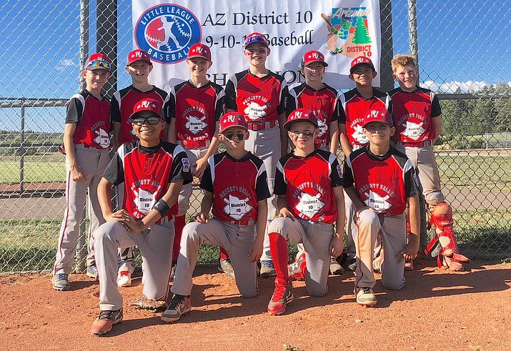 The Prescott Valley Little League 11U All-Stars pose for a team photo following an 8-7 win over Mohave Valley in a loser's brakcet game of the state tournament on Wednesday, July 17, in Flagsatff. (Barry Wallace/Courtesy)