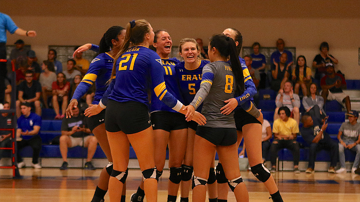 The ERAU women's volleyball team celebrates after scoring a point in a 3-1 win over Ottawa during the 2018 season on Oct. 10 in Prescott. The defedning Cal Pac Conference regular season and tournament champions have further bolstered their roster by adding four new players for the 2019 season. (Jack Rinke/ERAU Athletics, file)