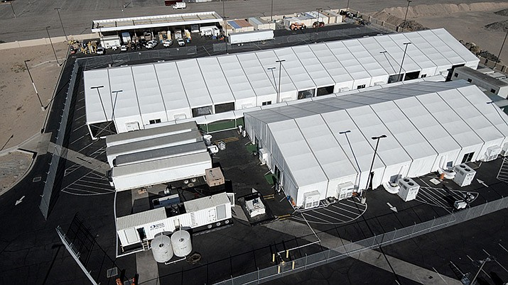 An aerial view of the temporary housing facility in Yuma on June 26, 2019 as part of an ongoing response to the current border security and humanitarian crisis along the Southwest border. (U.S. Customs and Border Protection photo by Jerry Glaser)