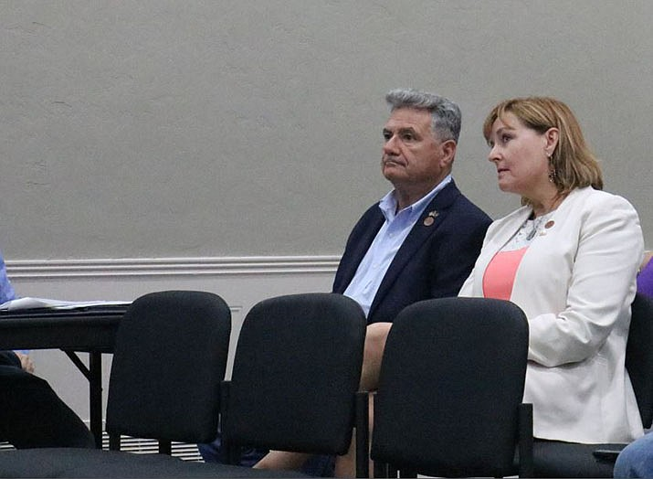 State Sen. Sonny Borrelli and Rep. Regina Cobb were in the audience at Council's meeting on Tuesday. Both Borrelli and Cobb felt that the mayor did the right thing in withdrawing the resolution. (Photo by Travis Rains/Daily Miner)