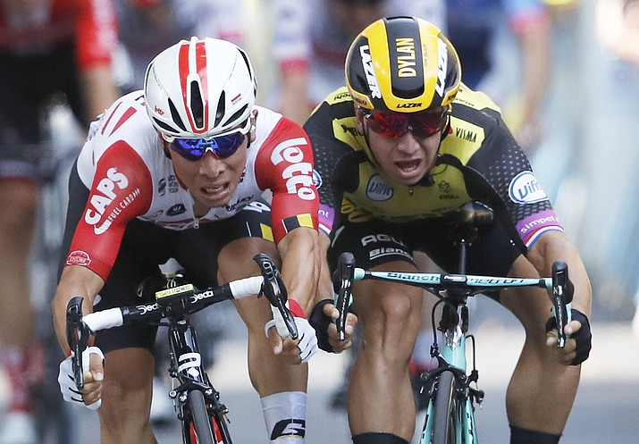 Australia's Caleb Ewan, left, and Netherlands' Dylan Groenewegen sprint to the finish line during the eleventh stage of the Tour de France over 167 kilometers (103,77 miles) with start in Albi and finish in Toulouse, France, Wednesday, July 17, 2019. Ewan won the stage. (Christophe Ena/AP)